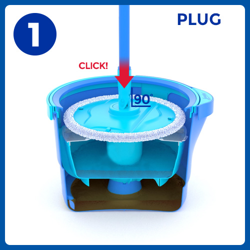 Aqua Revolution System Mop and Bucket Instructional Picto 1
