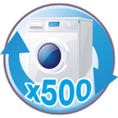 Microfibres can be washed 500 times Picto