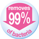 Removes 99% of bacteria