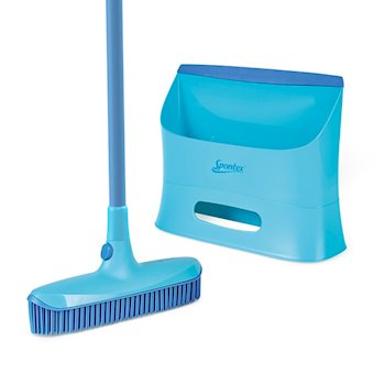 Catch and Clean Rubber Broom and Dustpan Set Image 1