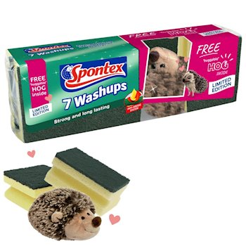 Spontex Washups 7 pack with free huggable Spontex hedgehog